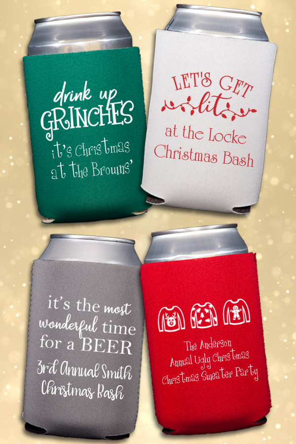 Assorted custom printed Christmas party beer can koozies