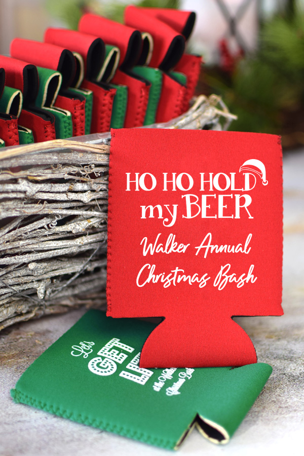 Red and green neoprene can koozies printed with Christmas designs
