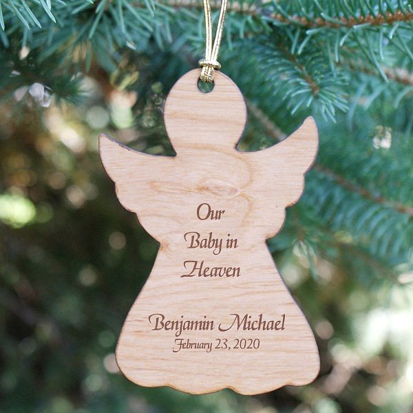 Our Baby In Heaven wooden angel silhouette ornament personalized with angel silhouette, baby's name and date