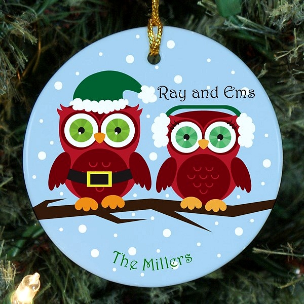 Owl family Christmas ornament personalized for two people