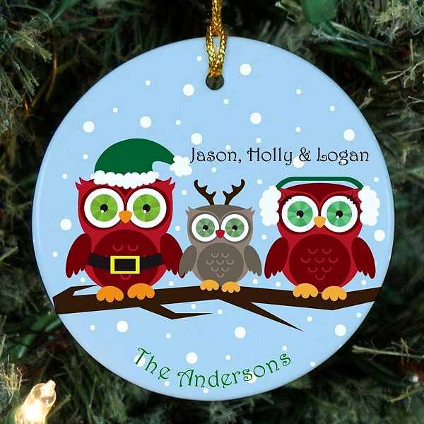 Owl family Christmas ornament personalized for mom, dad and one child
