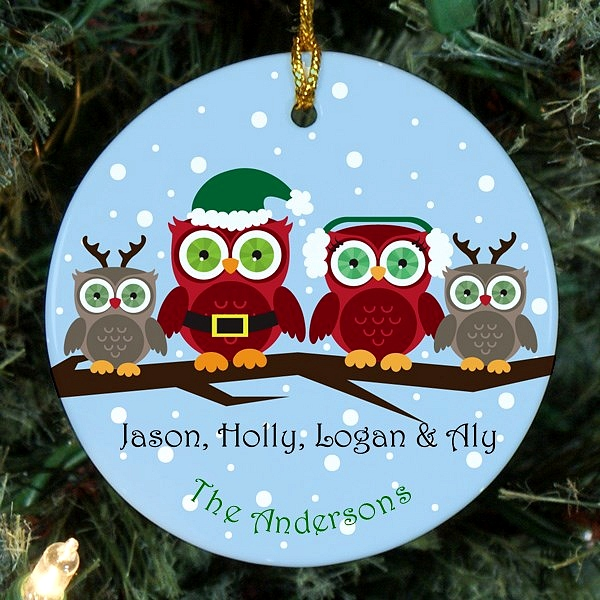 Owl family Christmas ornament personalized for mom, dad and two children