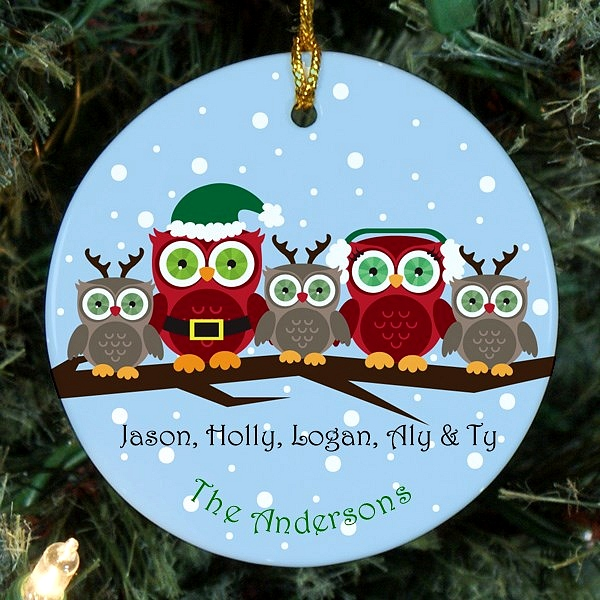 Owl family Christmas ornament personalized for mom, dad and three children