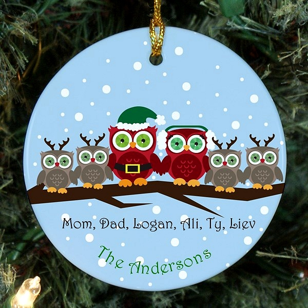 Owl family Christmas ornament personalized for mom, dad and four children