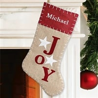 JOY burlap christmas stocking personalized with embroidered name