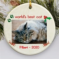 Round Christmas tree ornament for cats personalized with cat photo and custom print