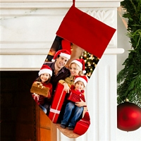 Red Christmas stocking personalized with custom family photo