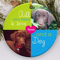 Round Christmas tree ornament for dogs personalized with dog photo and name