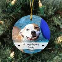 Round beveled glass ornament personalized photo of family dog, In Loving Memory script and dog's name