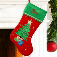 Red and green Christmas tree stocking personalized with name