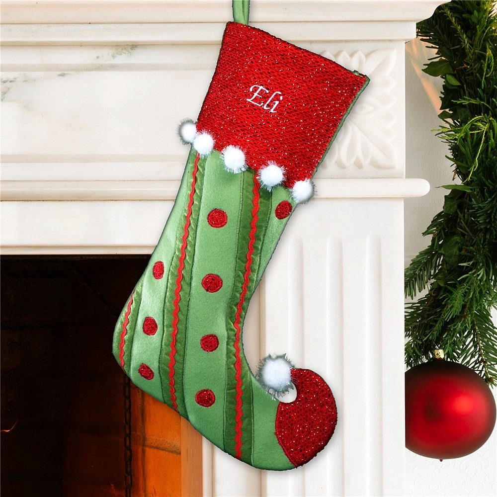 Green and red elf Christmas stocking personalized with embroidered name