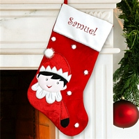 Curious elf red and white Christmas stocking personalized with name