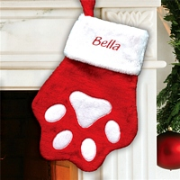 Big red and white paw Christmas stocking personalized with pet's name