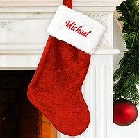 Classic red and white fuzzy Santa stocking personalized with name