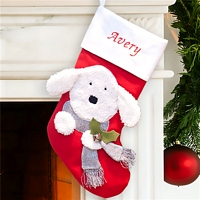 Fuzzy white puppy Christmas stocking for dogs personalized with pet's name