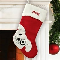 Happy puppy on Christmas stocking for dog personalized with pet's name