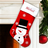 White smiling snowman on red velvet Christmas stocking personalized with name