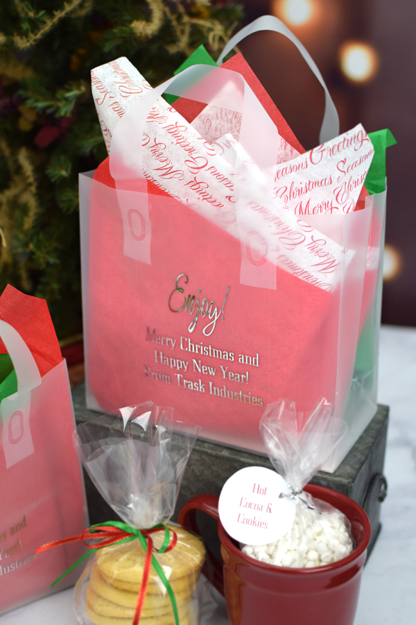 8 x 7 Custom Printed Frosted Christmas Gift Bags