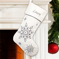 White Christmas stocking with silver glitter and rhinestones snowflakes personalized with name