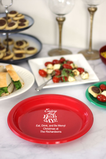 Personalized Plastic Christmas Party Plates