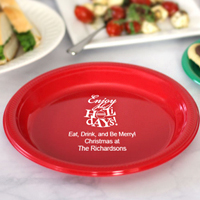 Personalized Plastic Christmas Party Cake Plates