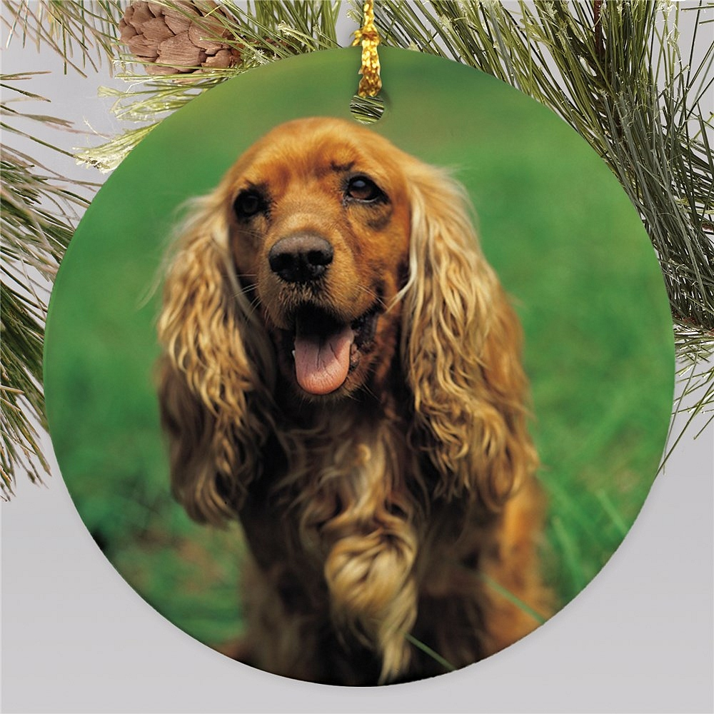 Custom pet Christmas tree ornament personalized with photo of dog