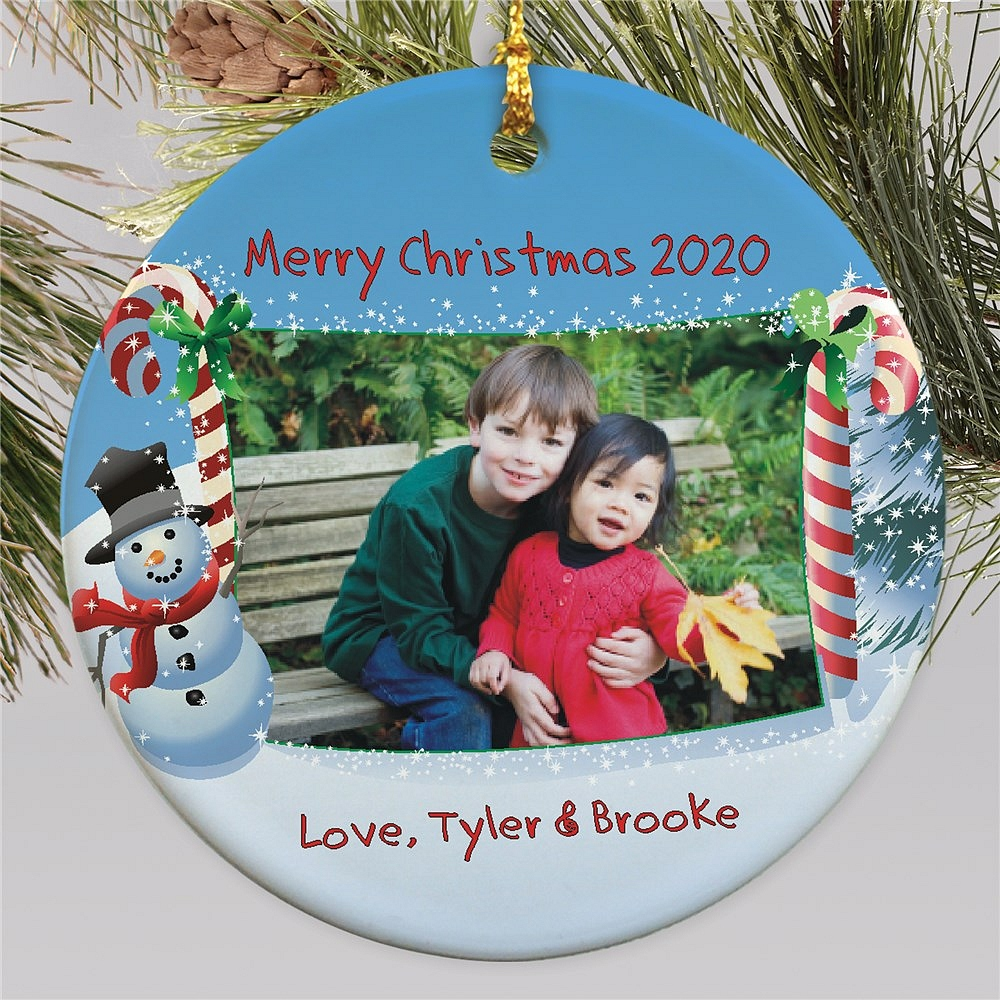 Round Holiday snowman Christmas tree ornament personalized with custom photo and two lines of custom print