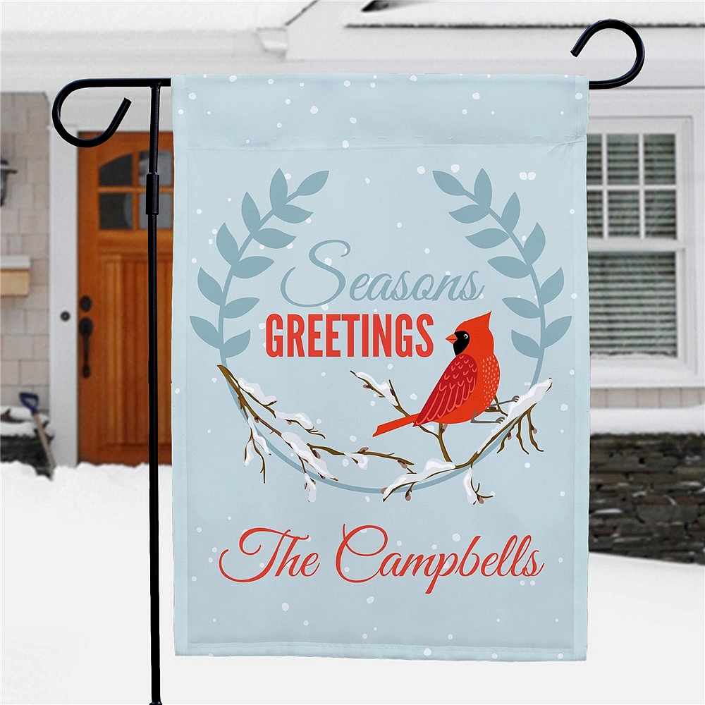Seasons Greetings Cardinal Personalized Garden Flag Tippytoad