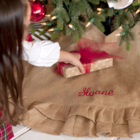 Burlap Ruffle Personalized Christmas Tree Skirt