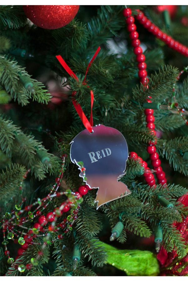 Silver Acrylic Boy Christmas Ornament with name in Block Lettering Style