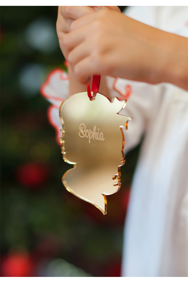 Gold Acrylic Girl Christmas Ornament with Script Name