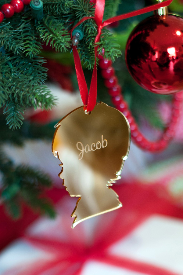 Boy Christmas Ornament in Gold with Script Name