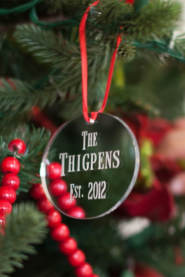 Silver Acrylic Christmas Ornament with Name and Established Year