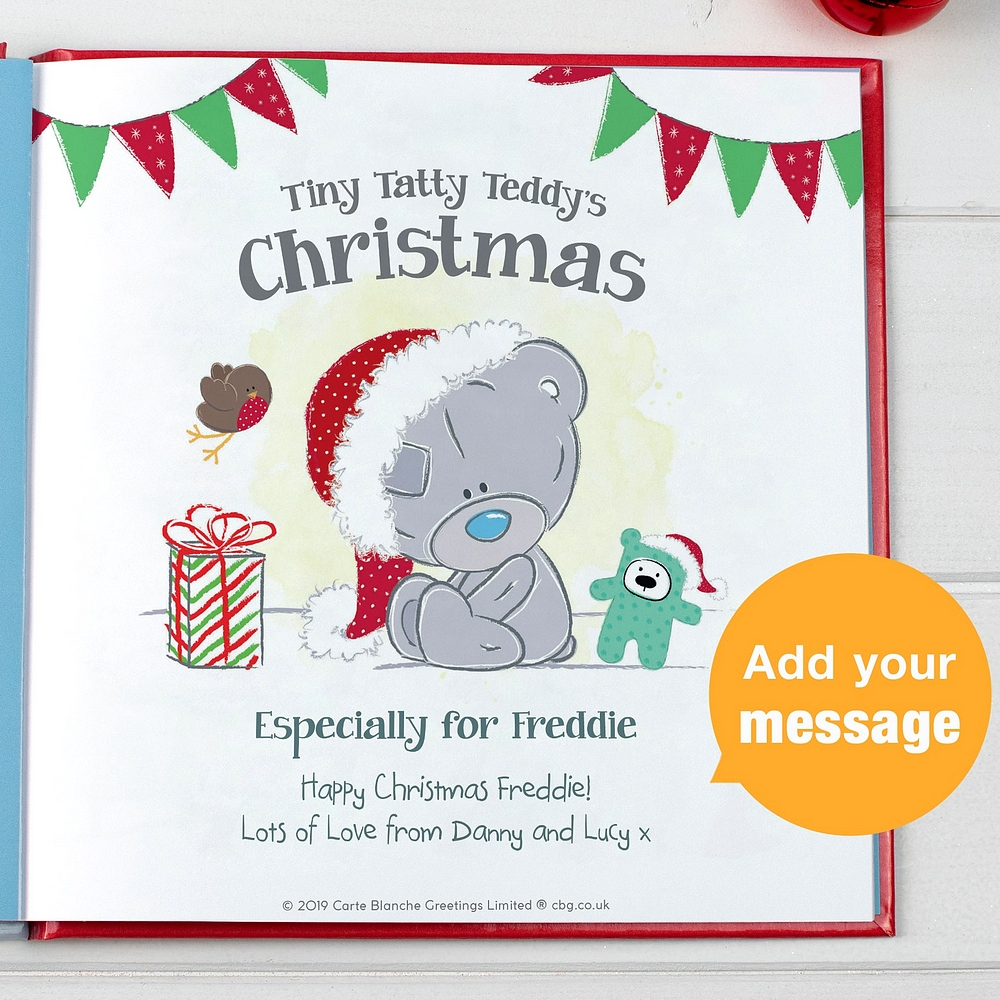Title page personalized with child's name and special custom message from gift givers in Tiny Tatty Teddys Christmas kids book