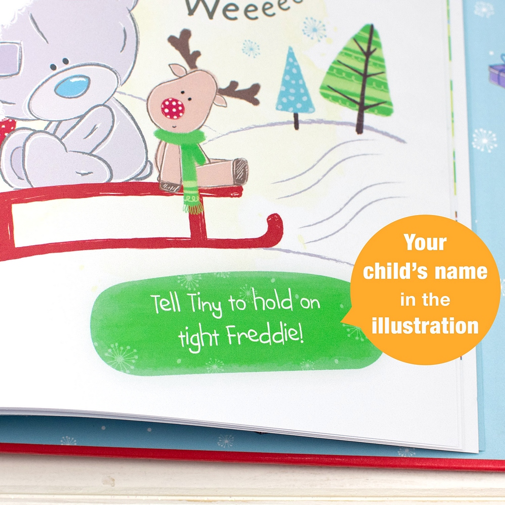 Your child's name is part of the story as Tiny Tatty Teddy interacts with your child on every page in Tiny Tatty Teddys Christmas personalized kids book