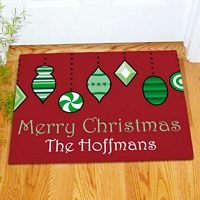 Personalized winter and Christmas theme welcome mats, door mats and floor mats