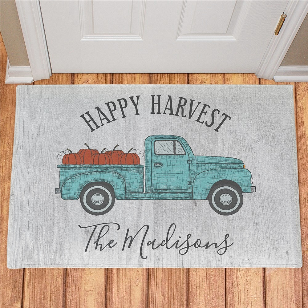 Happy Harvest pickup truck doormat personalized with family name