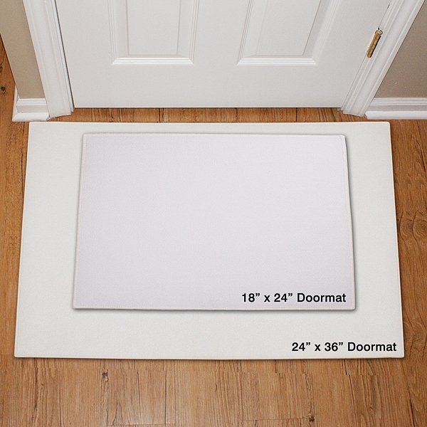Doormat size options: Personalized doormats are available in 18 in. x 24 in. and 24 in. x 36 in. size options