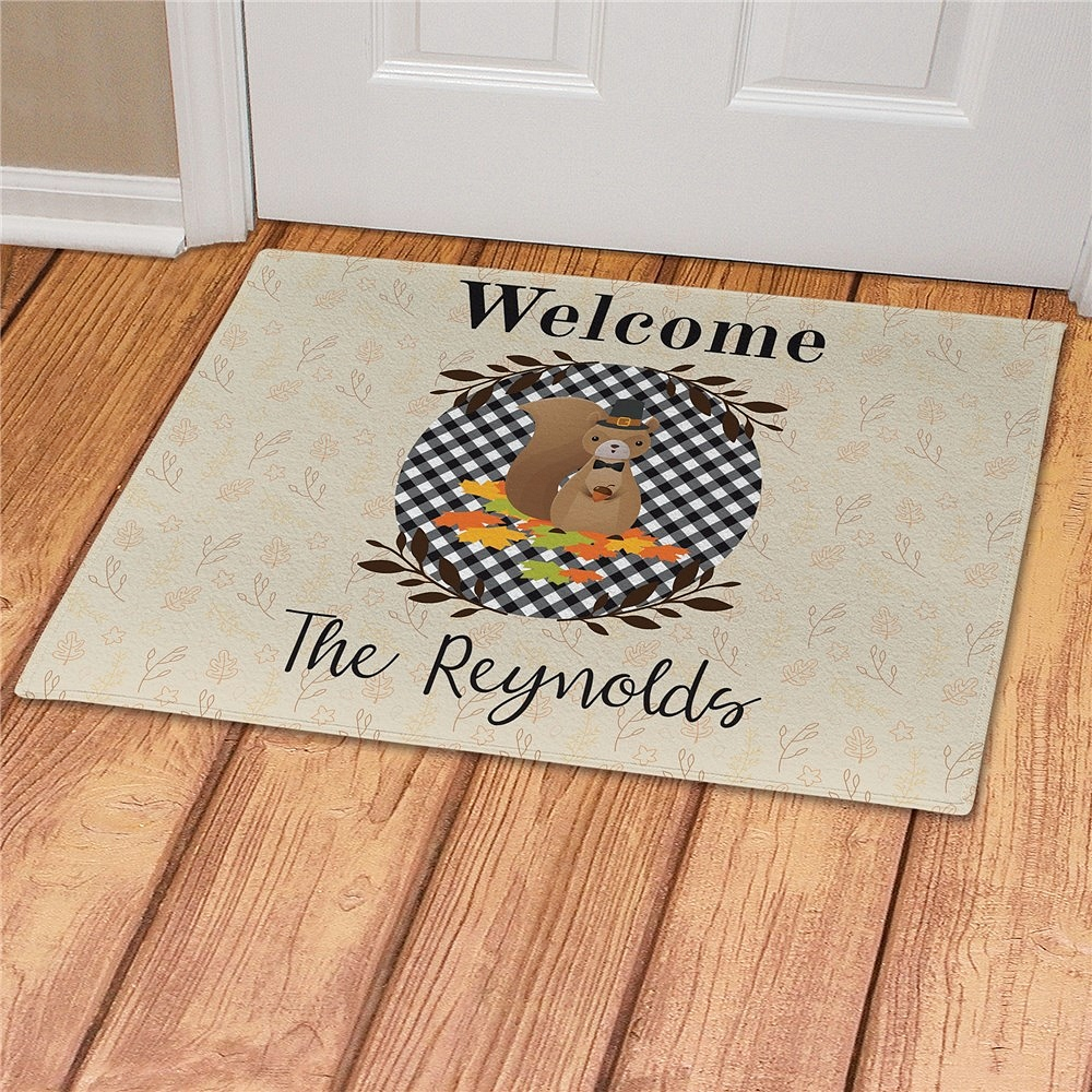 Thanksgiving squirrel custom welcome mat personalized with family name