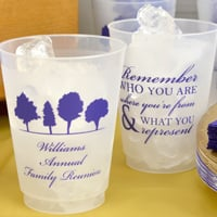 Personalized family reunion frosted plastic 16 ounce cups with designs and text in Stylish lettering style and Purple imprint color