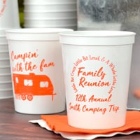 Personalized family reunion souvenir stadium cups, white with orange imprint, design and two lines custom text