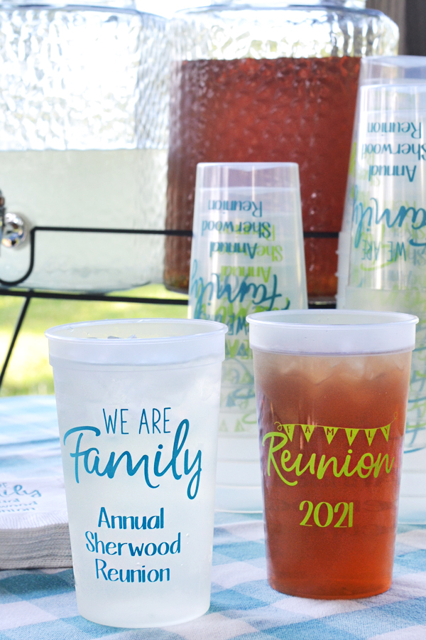 Personalized family reunion souvenir stadium cups, Natural with Lime and Turquoise imprint, custom printed with designs and text on front and back