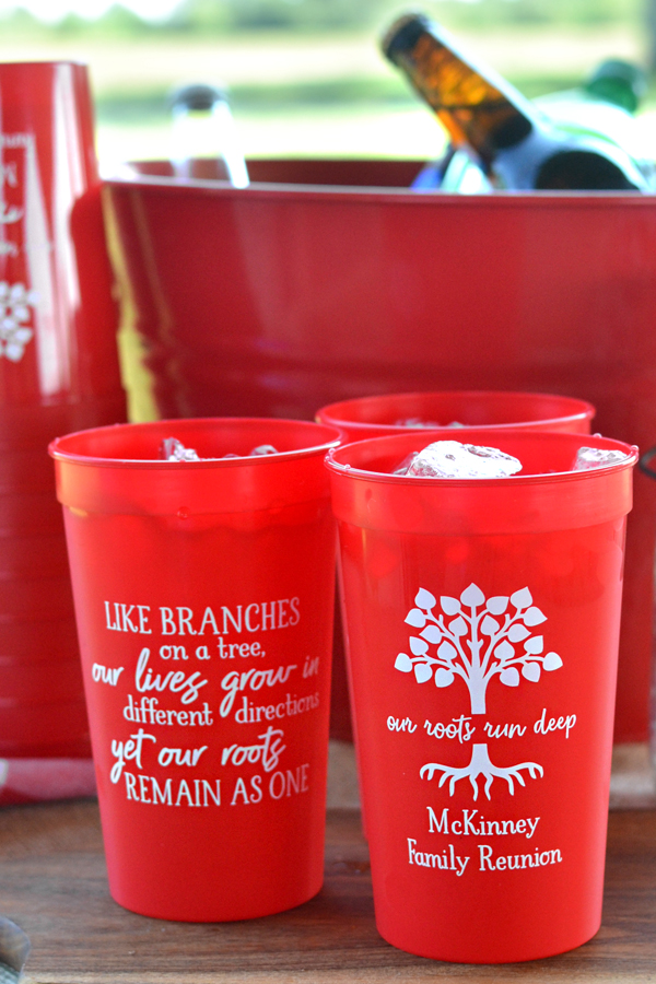 Custom printed family reunion souvenir stadium cups, Red with White imprint, custom printed with designs and text on front and back