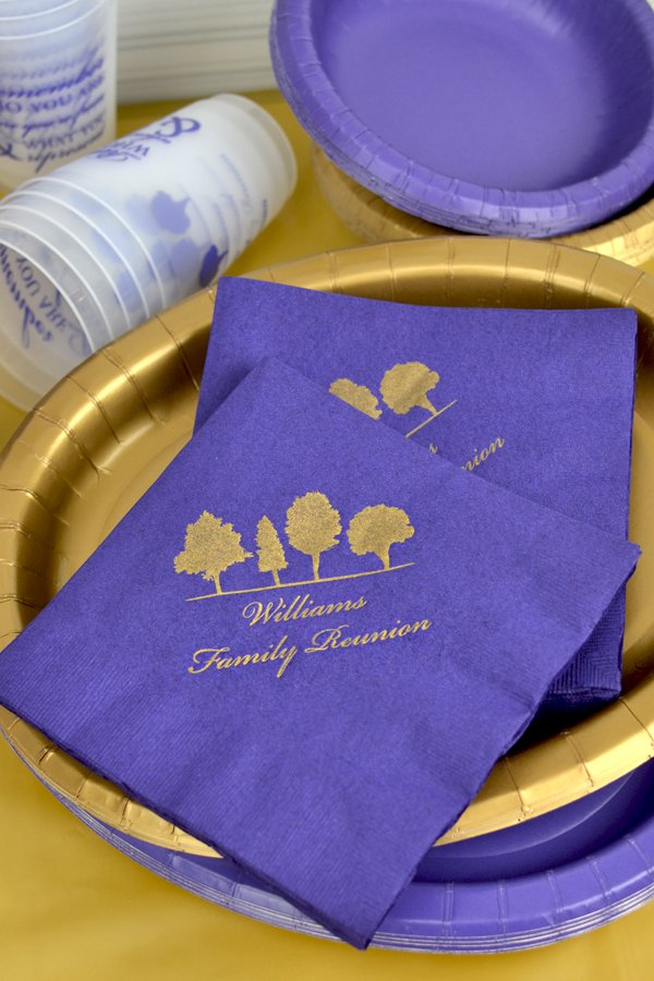 Family reunion party custom printed luncheon napkins in purple with trees design and two lines of text in Stylish lettering style and gold imprint color