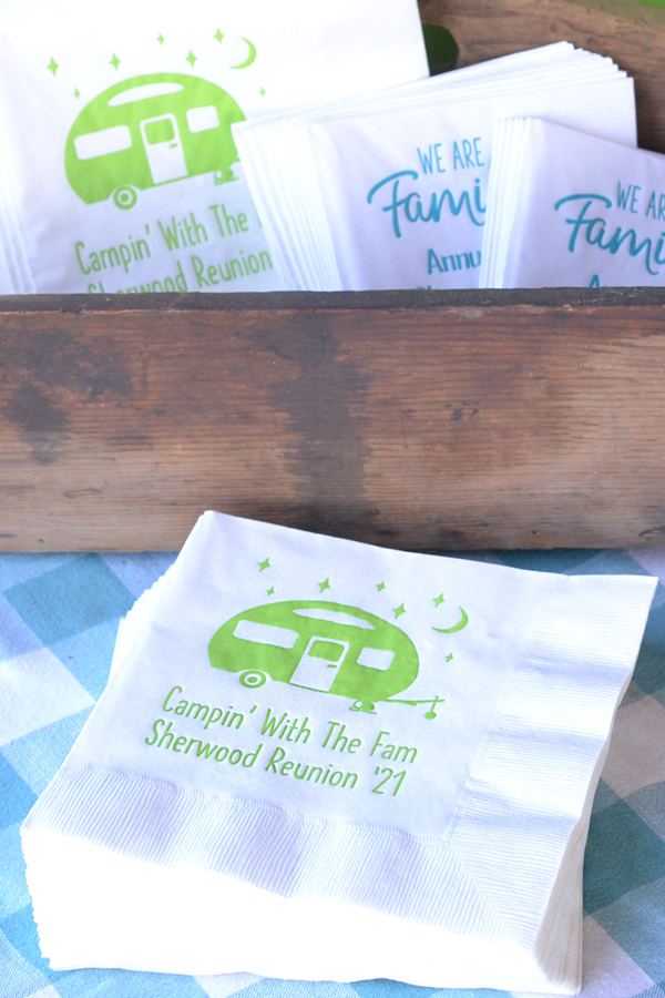 Personalized family reunion luncheon napkins in white with lime imprint of the SUM119A design with 3 lines of custom print in Quick lettering style