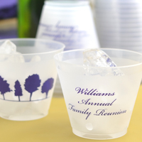 Personalized family reunion frosted plastic 16 ounce cups with design and text in Stylish lettering style and Purple imprint color