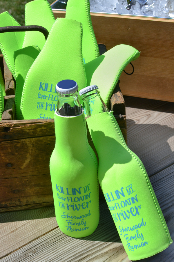 Annual family reunion gathering custom printed zip-up bottle koozies in neon green with turquoise imprint, SUM124 design and text in Money Penny lettering style