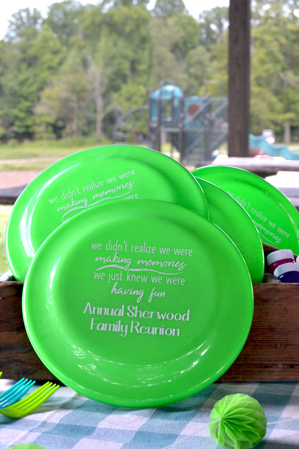Family Reunion party custom printed disc golf flying discs in Neon Lime Green with design and custom text in White imprint