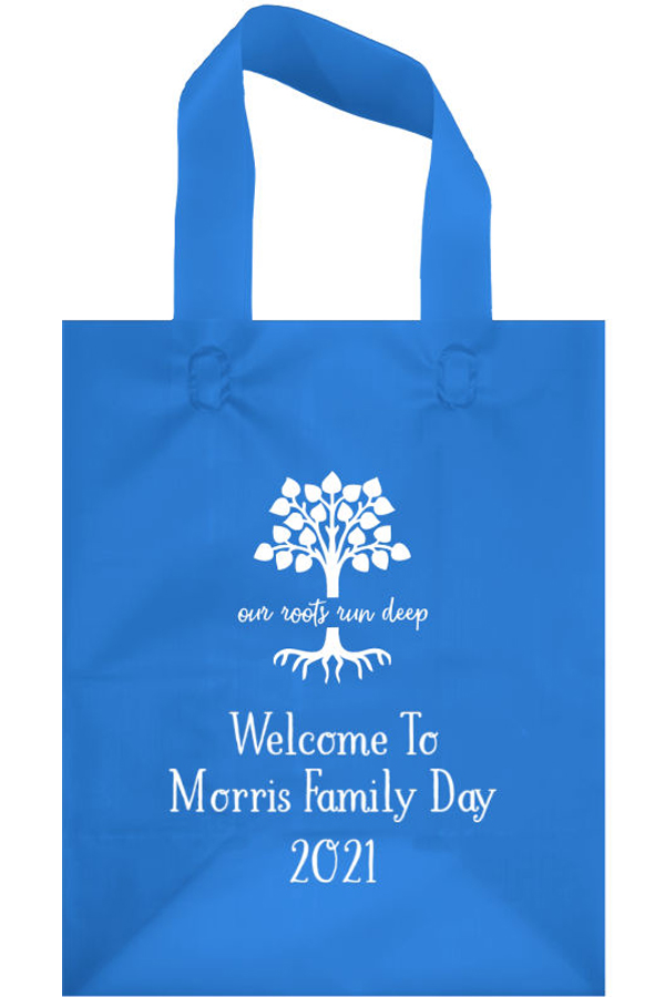 Frosted Family Reunion Welcome Bag in Blue with White Imprint, design FR108 - Roots Run Deep, and 3 lines of text in Sweetheart Lettering Style.