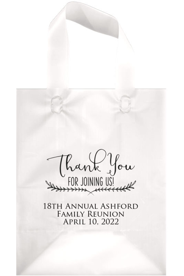 Frosted Family Reunion Welcome Bag in Clear with Ebony Matte Imprint, design WB018 - Thank You Joining Us, and 3 lines of text in Trajan Lettering Style.